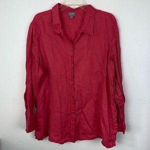 J. Jill Linen Button Up Long Sleeve Shirt Blouse L